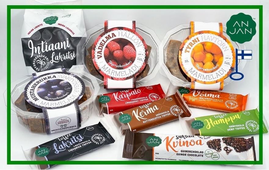 Anjan Luontoherkku - täysruokosokerimakeiset: lakritsi, suklaa, toffee ja marmeladi.